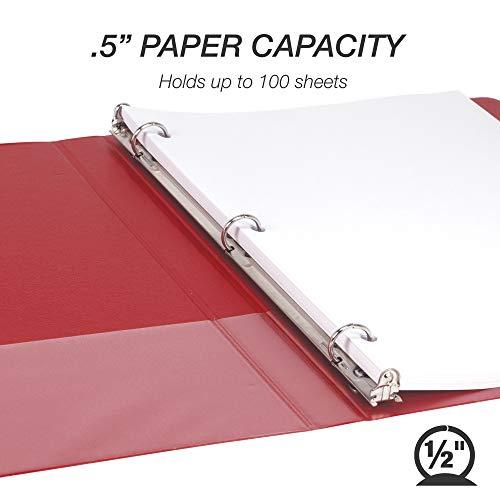 Samsill Durable .5 Inch Binder Red Round Ring Binder / Customizable Clear View Binder / Bulk Binder 8 Pack / 3 Ring Red Binder / Half Inch Binder Photo #3