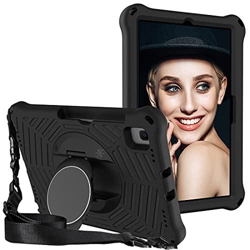 GOZOPO Funda infantil para Samsung Galaxy Tab S6 Lite 10.4 pulgadas 2020 /Tab S6 10.5 /Galaxy Tab A7 10.4 funda con correa para el hombro, soporte de pie, resistente a los golpes, color negro
