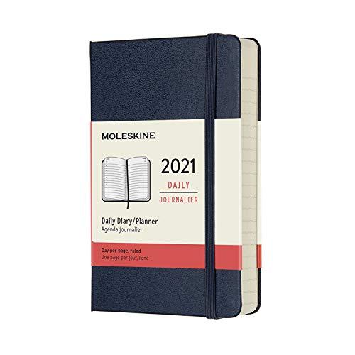 Moleskine - Agenda Giornaliera 12 Mesi 2021, Daily Planner 2021, Copertina Rigida e Chiusura ad Elastico, Formato Pocket 9 x 14 cm, Colore Blu Zaffiro, 400 Pagine
