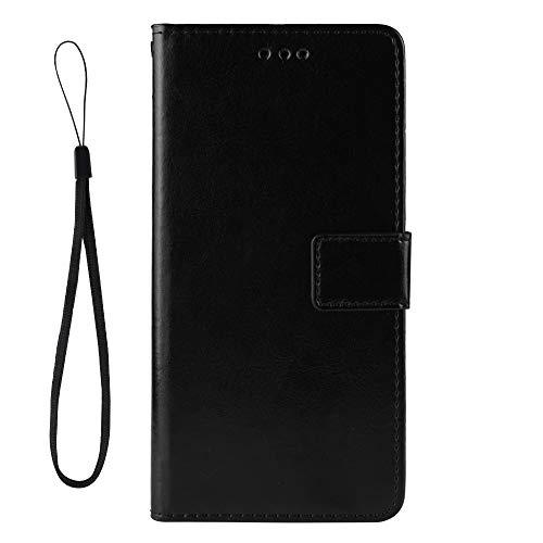 Dedux Flip Hülle kompatibel mit LG K40S, Retro Leder Brieftasche Abdeckung Magnetverschluss Folio Ständer Kartensteckplätze Handyhülle, Schwarz mit Lanyard