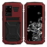 Simicoo Samsung S20 Plus Metal Bumper Silicone Case Hybrid Military Shockproof Heavy Duty Rugged Defender case Built-in Screen Protector Stand Camera Lens Protector Cover for S20 Plus (Red)