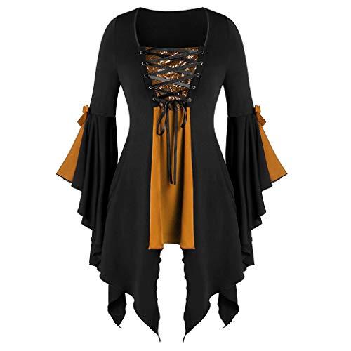 Aniywn – Blusa feminina plus size para o Dia das Bruxas, manga comprida com lantejoulas e cadarço, Laranja, S