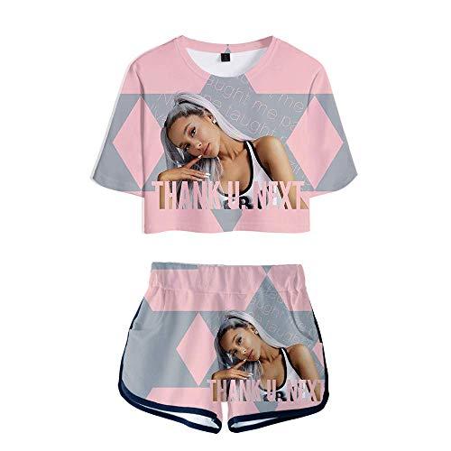 nuannuan Impression 3D Ariana Grande T-Shirt + Shorts Filles Vêtements De Sport Haut Mignon + Shorts Chanteur Mignon Filles Longue Dame Décontracté Lâche XS-XXL