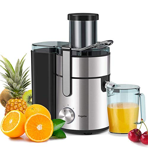 Bagotte Large Juicer Machines, 1000W, 85mm Wide Mouth Centrifugal Juicers Easy Clean Juice Extractor for Whole Fruit Vegetable, Juicer Recipe Book & Brush, Anti-drip, Dual-Speed, BPA-Free