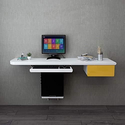 DERUKK-TY Flytande hylla vägg skrivbord datorbord med tangentbordsbricka väggmontering laptop skrivbord hem skrivbord platsbesparande hängande bord arbetsstation och förvaringsskåp kontor arbete arbetsrum bokhylla