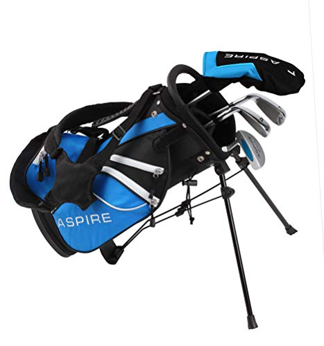Aspire Golf Junior Plus Complete Golf Club Set for Children Kids - 5 Age Groups Boys & Girls - Right Hand (Blue Ages 3-4)