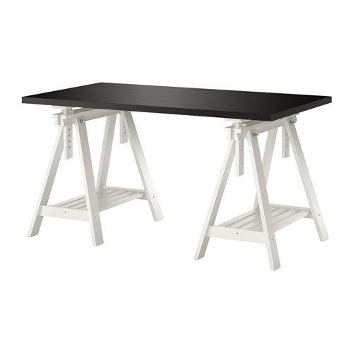 Ikea LINNMON/FINNVARD - Tafel, zwart-bruin, wit - 150x75 cm