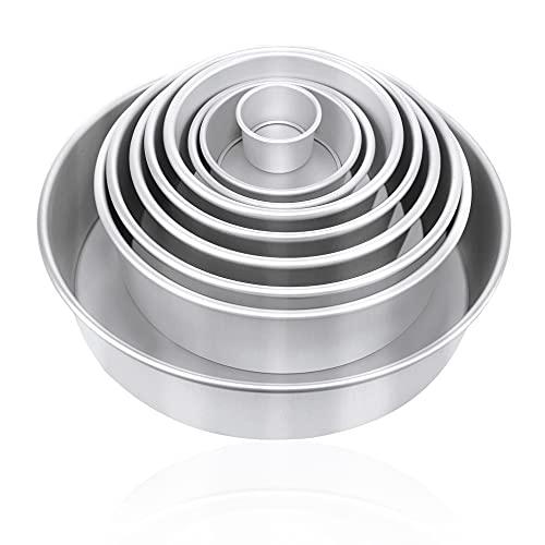 9-teiliges Aluminium-Kuchenform-Set, rund, 7,6 - 30,5 cm, Backform mit abnehmbarem Boden, professionelle Backform für Muffins, Kuchen, Käsekuchen, Silber