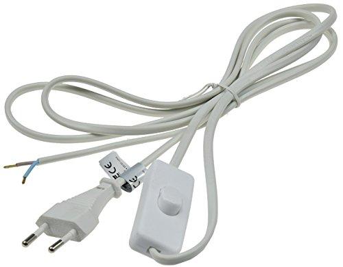 Euro Kabel mit Schalter 2m zum Konfektionieren für Lampen Leuchten Geräte 2-polig Schnur-Schalter Weiß
