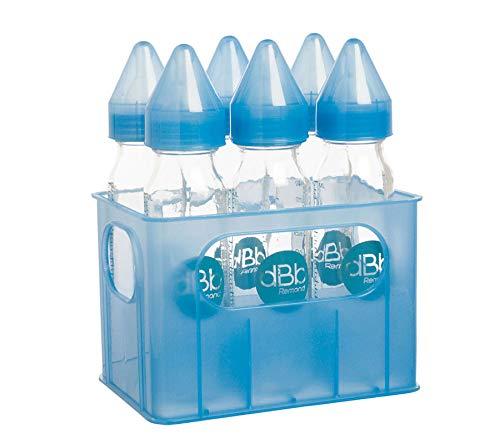 dBb Remond - 177366 - Porte-Biberons + 6 Biberons Verre - Tétine Nn - Silicone - Système Bleu Translucide - 240 ml