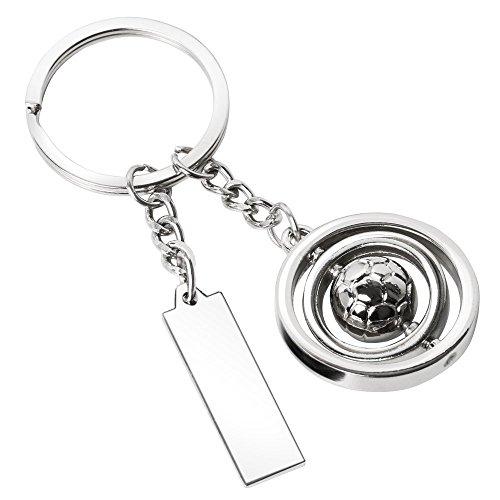 TRIXES Silberner Fussball Schlüsselanhänger mit Sich drehendem rotierenden Fussball