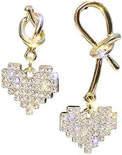 Girl Silver Needle Loving Heart Asymmetrical Earrings Personality Temperament Sweet Ear Pendant Fashion Simple Ear Ornaments Jinlyp (Color : Zircons Asymmetrical)
