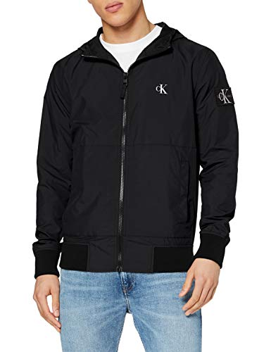 Calvin Klein Jeans Herren Hooded Blocking Nylon Jacket Bomberjacke, Schwarz (Ck Black/White Bae), Large