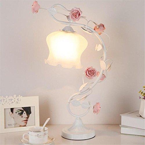 LUCKY CLOVER-A Tischlampe Europäischen Stil Schlafzimmer Nachttischlampe Prinzessin Garten Kreative Ehe Hochzeit Zimmer Dekoration Weiß Rosa Handgemachte Keramik Rose, white