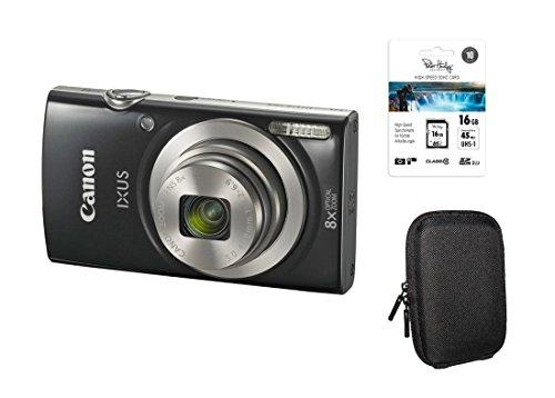Canon Ixus 185 schwarz Kit + 16GB SDHC Speicherkarte + Tasche