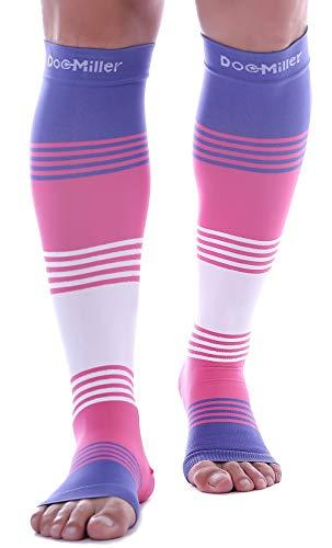 Mangas de compresión Doc Miller para pantorrilla, 1 par, 20-30 mmHg, soporte fuerte de pantorrilla, calcetines sin dedos para correr, recuperación varicosa, venas, XL, 2XL, 3XL, S, Puntera abierta rosa/violeta., 1