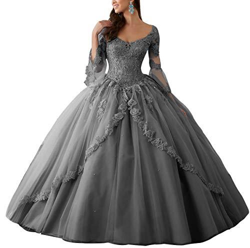 HUINI Ballkleider Lang Spitze Brautkleider Langarm Quinceanera Kleider Prinzessin V-Ausschnitt Hochzeitskleider Stahlgrau 36