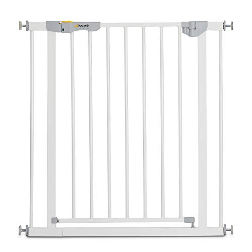 Hauck Türschutzgitter / Treppenschutzgitter für Kinder Autoclose N Stop 2 Safety Gate / selbtstschließend / ohne Bohren / 75 - 80 cm breit / erweiterbar mit separater Verlängerung / Metall Gitter weiß