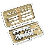 WYFC Juego de Clipper de uñas Kit de Aseo de cuidados personales 8 Pieza Kit de Aseo Profesional for Adultos Juego de manicura Cuidado de uñas (Color : Gold)