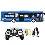 Zouminy Modelo de Coche RC Juguete de Control Remoto Bus 2.4GHz Eléctrico con luz de Sonido de simulación 1:20 Escala RC Toy(Azul)