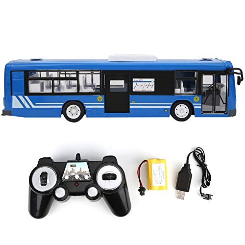 Autobús Teledirigido, 2.4Ghz Coche de Control Remoto, 15 Km/H RC Autobús Modelo de Auto con Simulación de Sonido y Luz, Coche de Juguete Eléctrico para Adultos & Niños, Batería Recargable(Azul)