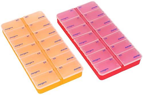 com-four® 2X Medikamentendosierer - Medikamenten-Box für 7 Tage - Pillendose - Tablettendose - Tablettenbox - Wochendosierer zur Aufbewahrung (02 Stück - rot/orange)