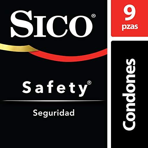 Condones de Látex Lubricados, Sico Safety, Color Natural,  Cartera con 9 Piezas