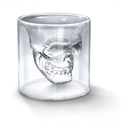 Amzdeal Skull Glas, 6 Schädel Gläser 75ml, Totenkopf Whisky Vodka oder Schnaps Gläser, 6 x 75 ml