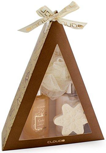BRUBAKER Cosmetics - Coffret de bain - Vanille - 4 Pièces - Pyramide - Doré/Fleurs d'hiver - Idée cadeau Noël