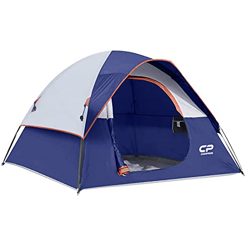 CAMPROS Tent-3-Person-Camping-Tents, Waterproof Windproof Backpacking Tent with Top Rainfly, Easy Set up Small Lightweight Dome Tents, for All Seasons Hiking Beach Outdoor with 3 Mesh Windows - Blue