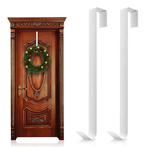 Wisolt Lot de 2 crochets en métal ultra-fins et résistants pour couronne, couronne de Noël, signe de bienvenue, sac à dos, sac à main (blanc)