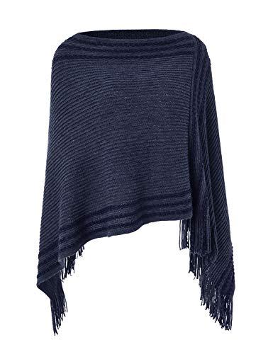 Ferand Legerer Gestreifter Damen Poncho-Schal Strick-Pullover mit Fransen, Navy blau, Einheitsgröße (Beste Passform S-L)