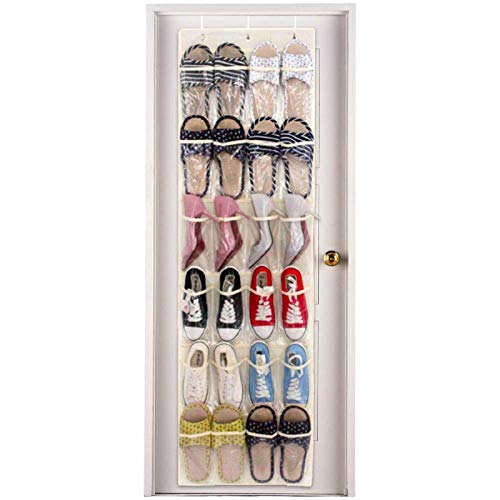 Over The Door Shoe Organizer 24 Pocket Clear Hanging Holder for Shoes Sneaker Sock Makeup Spice Towel Bottle And Kid Toy Storage Mounted on Closet Cabinet of Bedroom Bathroom Kitchen