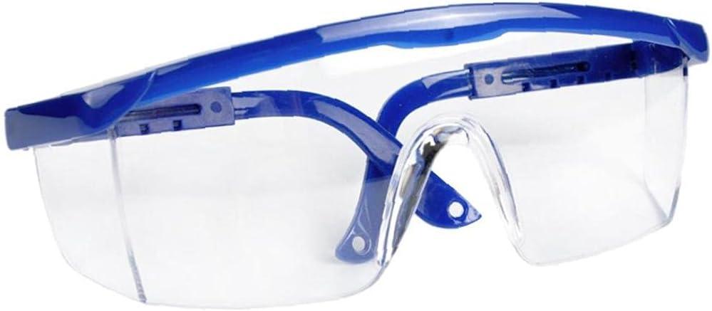 PJKKawesome Gafas Anti-Niebla, Protección UV Gafas Seguridad Antideslizantes con Templos Ajustables Individualmente Azules