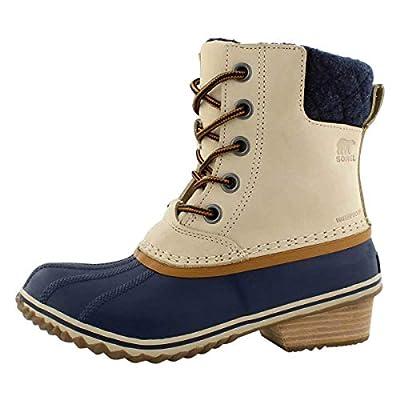 Sorel Women's Slimpack Lace II Snow Boot, Oatmeal, Collegiate Navy, 9 M US