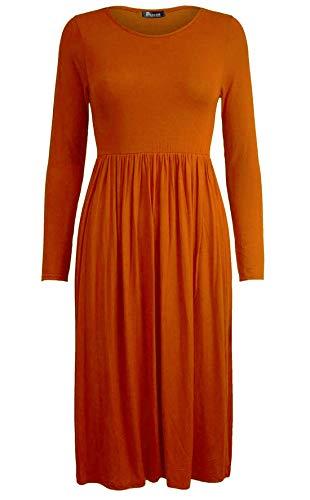 Islander Fashions Damen Lange Frankie Ausgestelltes Skater Jersey Kleid Womens Phantasie Rauch Schaukel Kleid Rost X Large