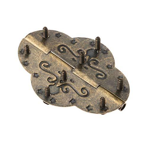 XJJZS 2 unids 69x53mm gabinete de Bronce Antiguo bisagras for joyería Caja de Madera Cajón Decorativo Vintage Bisagra de Hierro Muebles