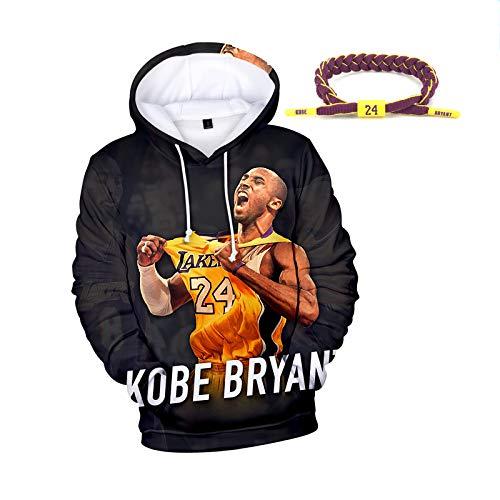 con Capucha otoño del Resorte de Baloncesto, Lakers 24 Número Bryant 3D de impresión de Manga Larga Floja Jersey, Pulsera con Bryant Nombre, Black-XXL