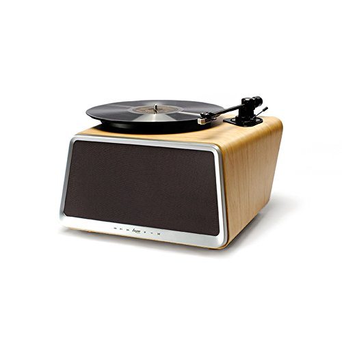 HYM Originals Seed All-in-One Vinyl Turntable Record Player with Built-in 80W HiFi Speakers, Bluetooth/Wifi/AUX-in/USB/RCA, White Oak Wood