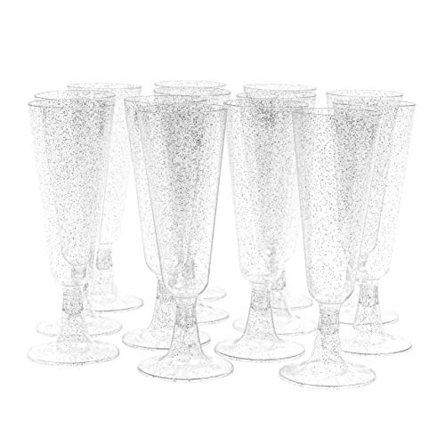 100 Flute da Champagne Plastica multiuso con Glitter Argento, 150ml - Elegante, Resistente, multiuso Riutilizzabile - Bicchieri Prosecco per Feste Mat
