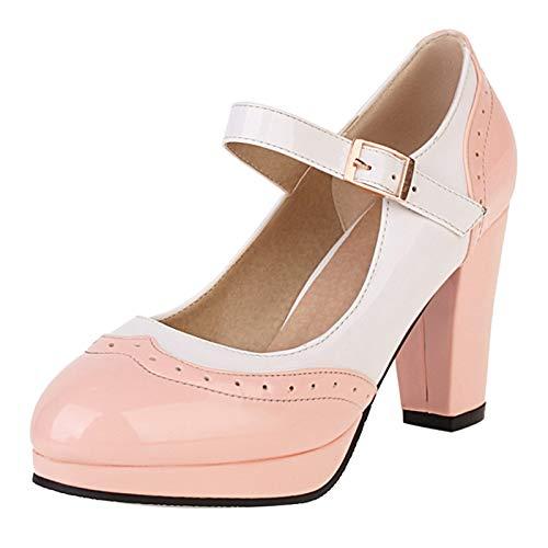 VulusValas Femmes Closes Toe Mary Jane Chaussures Mode Hauts Talons Bloc Escarpins Lolita Escarpins Fête Chaussures Pink Size 42 Asiatique