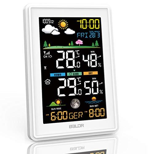 Konsen Wetterstation Farbdisplay mit Außensensor für innen-außen, DCF-Funkuhr Multifunktionale Thermometer-Hygrometer mit Wettervorhersage Barometer Mondphasen Datum Wecker und Beleuchtung, Weiß
