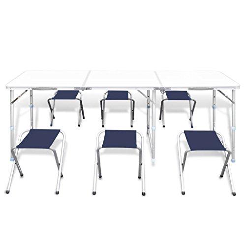 Mesa de camping plegable, altura ajustable, juego de mesa de camping con 6 taburetes, mesa de picnic al aire libre para fiesta en el jardín, 180 x 60 cm