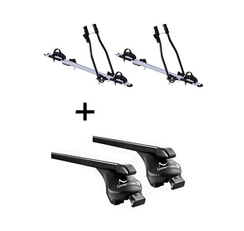 VDP 2X Fahrradträger SAGITTAR + Relingträger Quick Stahl L kompatibel mit Hyundai ix35 2010-2014