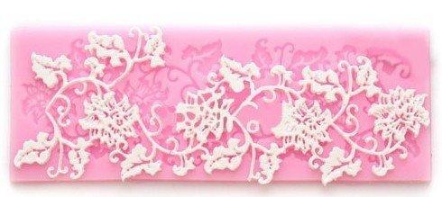 Zeagro Stampo in silicone per decorazioni di torte in pasta di zucchero, motivo merletti con rose