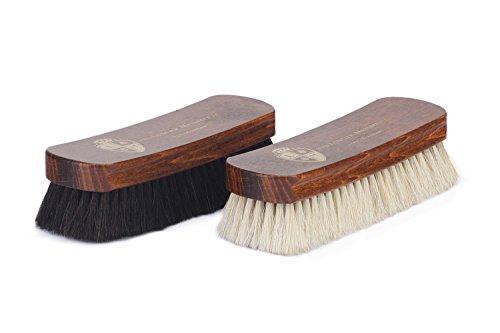 Langer & Messmer 2er-Set Schuhbürsten aus Rosshaar zum Polieren Ihrer Schuhe - Die Polierbürste für die professionelle Schuhpflege (hell/dunkel)
