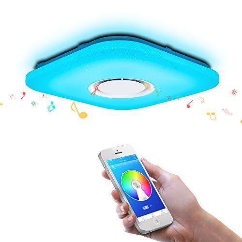 OFFDARKS – Plafoniera LED, lampada da soffitto con altoparlante Bluetooth, app telecomando a distanza + luminosità regolabile + cambio di colore 52W 480x480MM Plaza