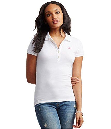 AEROPOSTALE Womens A87 Polo Shirt, White, Medium