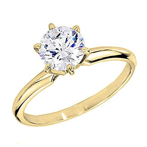 Dazzlingrock Collection IGI Certified 2.00 Carat (ctw) Round Diamond Ladies Solitaire Ring 2 CT, 18K Yellow Gold, Size 6