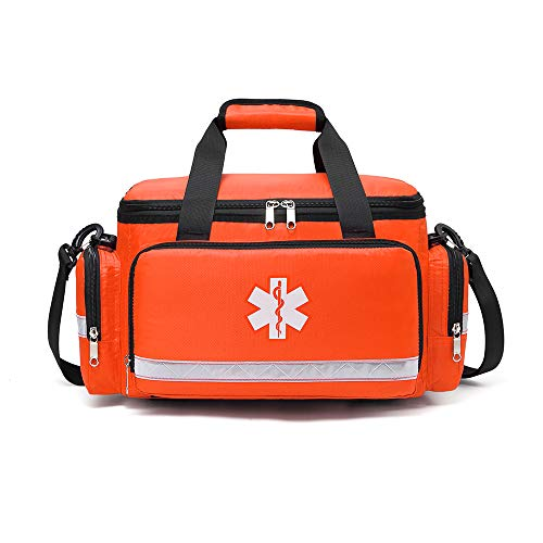 First Aid Kit Empty EMT Bag Only Large for Business School Travel Car Medical Supplies Emergency Trauma Backpack First Responders Back Pack Response Medic Supplies Organizer Waterproof Red (Orange)